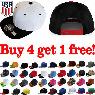 Baseball Cap Cool Two Tone Snapback Adjustable One Size Hat New Flat Bill Blank