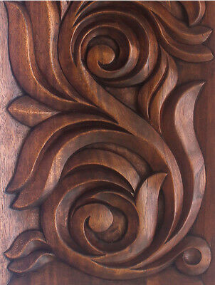 Superb Wooden Panel Foliated Relief Carved Panel Art Nouveau