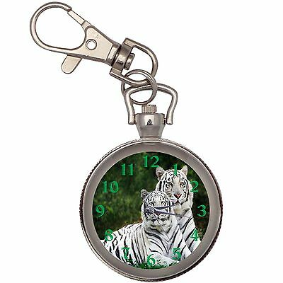 White Tigers  Key Chain Keychain Pocket Watch