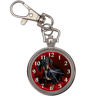 Dachshund Puppy  Key Chain Keychain Pocket Watch