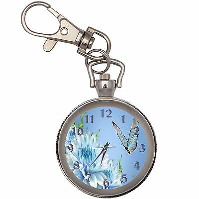 Butterfly On Blue Flower Key Chain Keychain Pocket Watch