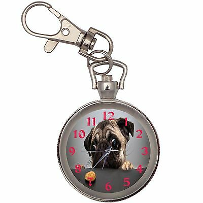 Pug Cookie Key Chain Keychain Pocket Watch