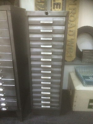 Vintage Industrial Stripped Metal 15 Drawer Filing Cabinet Storage