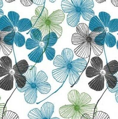 Floral Print Gift Wrap Wrapping Paper Decorations Decor Slate Grey Teal Green