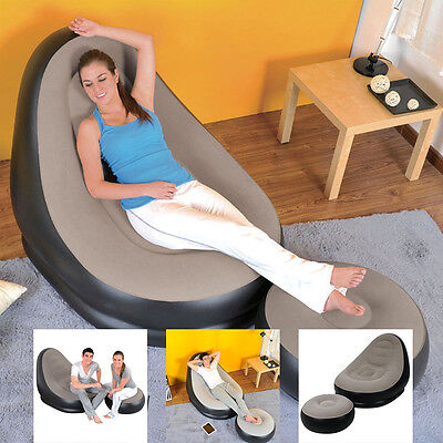 Jilong Deluxe Inflatable Lounge Lounger Chair With Ottoman Relax Foot Stool Seat