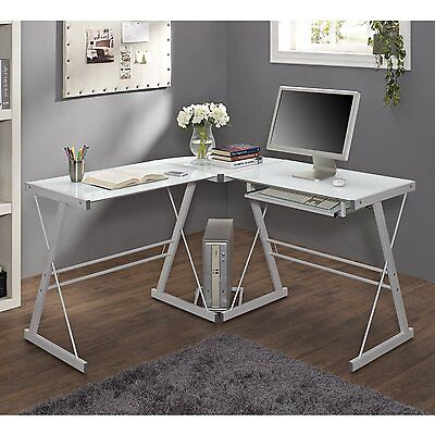 We Furniture Glass Metal Corner Computer Desk