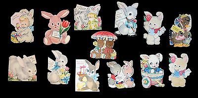 13 Different Die-cut Fuzzy Wuzzy Greeting Cards -Mostly Rabbits - Hallmark 1940s