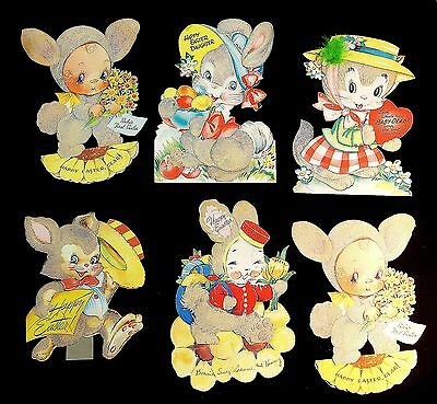 """6 Jumbo 10"""" Die-cut Easter Greeting Cards - Fuzzy Wuzzy, Gibson + 1940s-50s"""