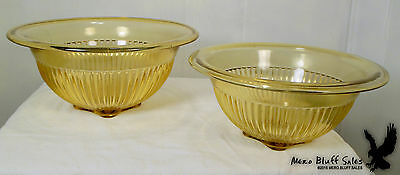 Lot of 2 Vintage Federal Glass Amber Gold Nested Mixing Bowls Ribbed Square Base