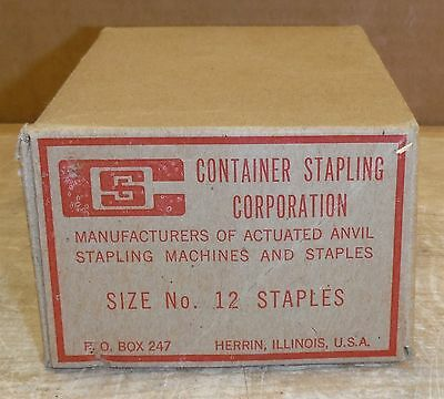 "Vintage Container Stapling Corp  Box of 1760 1-1/4"" x 1/2""  Staples #12  213a"