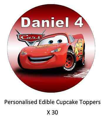 Disney Cars x30 Personalised Cupcake Toppers Edible Wafer Paper Name And Age