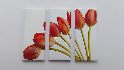 Handmade Miniature Dolls House Accessory Canvas Style Wall Art Picture Tulips #1