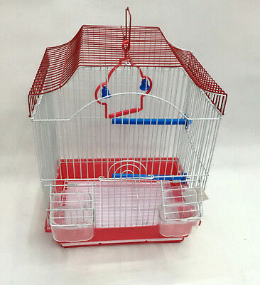Metal  Bird Cage Budgie Canary Small Bird Perch Food Dishes Slide Litter Tray