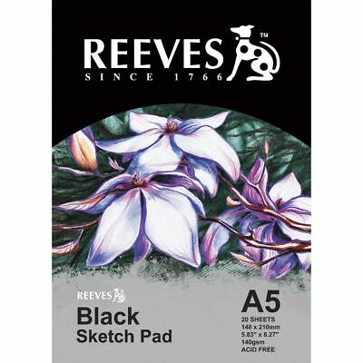 Reeves A5 Sketch Art Pad Black 140gsm Acid Free - 20 Sheets