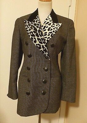 Christian Dior Black w/White Dots Leopard & Velvet Lapel Ladies Blazer Size 6