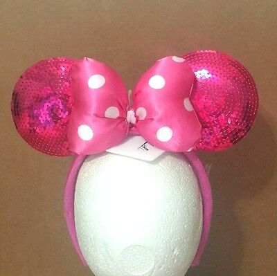 Minnie Mouse Pink Sequin Polka Dot Bow Ears Headband Disney World Theme Park