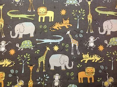 Jungle animal fabric giraffe elephant monkey hippo tiger for Childrens jungle fabric
