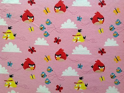 ~ FLANNEL~ Angry Birds Licensed ~ Quilting ~ Fabric~Girls~ Pink~ Flannelette~FQ~