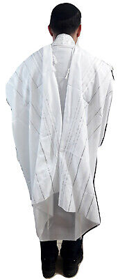 "Kosher White Tallit Talis Prayer Shawl acrylic 47""X66"" Made Israel silver Stripe"