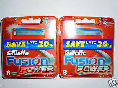 Gillette Fusion Power 2 Packs of 8 Cartridges(16 Razor Blades)RRP$92