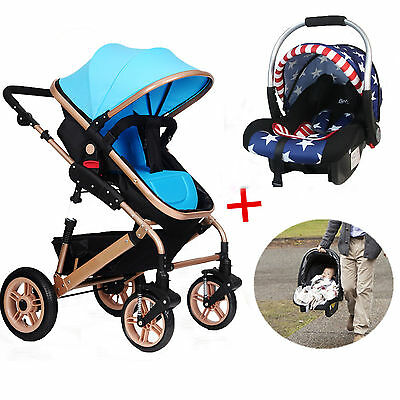 Kid Baby Child Stroller Pram Bassinet Newborn Basket Luxury Reversible Jogger