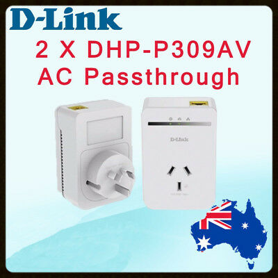DLink AV500 DHP-P308AV PowerLine Passthrough Network Starter Kit DHP-P309AV