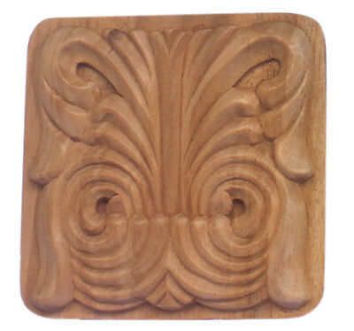Exceptional Small Art Nouveau Carved Wood Plinth Block Unfinished
