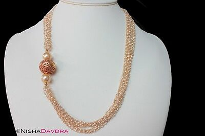 Long multi Strand Pearl Necklace Gold