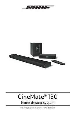 Bose CineMate 130 Home Theater System Owners Guide Manual