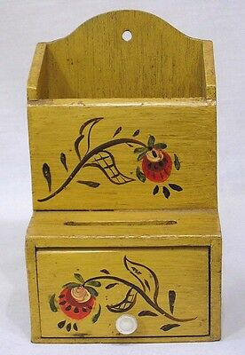 Vintage Lancaster County Wood Wall Match Holder Floral Painted Door and Slot 40s