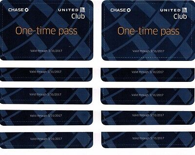 One (Or More) United Club One-Time Pass FAST FREE SHIPPING Good Thru 3/31/2017