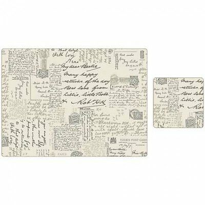 Script Design Placemats and Coaster Kitchen Food Serving Dinning Mats Set Of 8