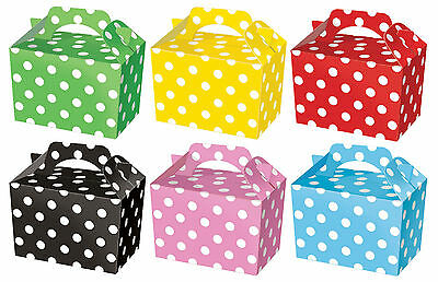 10 Polka Dot Party Boxes - Choose From 6 Colours - Food Lunch Cardboard Spotty