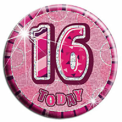 16 Today Pink Big Badge - Birthday Party Holographic Glitz Loot/Party