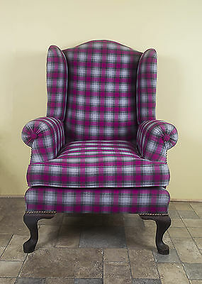 Wingback Queen Ann Purple Grey Gingham Tartan Vintage Chair Wingback