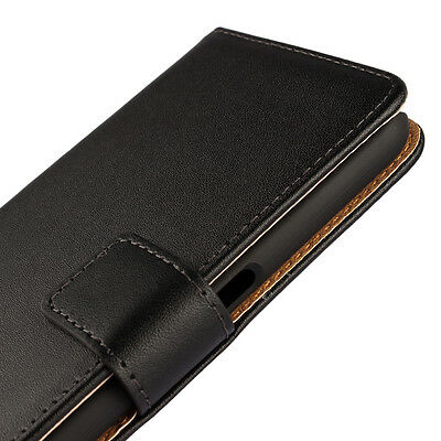 Black Genuine Real Leather Business Wallet Case Cover For Samsung Galaxy S7