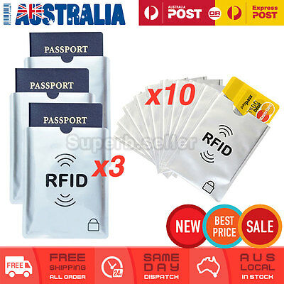 3x Passport & 10x RFID Blocking ID Credit Card Protector Sleeve Shield Holder AU
