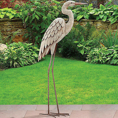egret regal garden art d decor heron bird metal statue yard, Garden idea