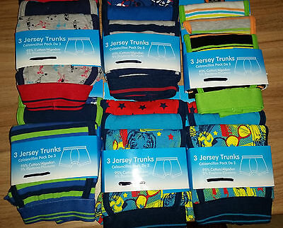 Boys Trunks. Pack of 3. 95% cotton. Random colours. NEW. Ages 2-10  30 inches