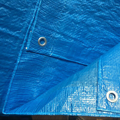 On Sale! BLUE 45GSM TARPAULIN WATERPROOF CAR BOAT COVER TARP Finished Sizes