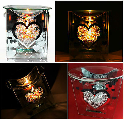 Glass Heart Fragrance Oil Burner & Tealight Holder Yankee Candle Wax Tart Warmer