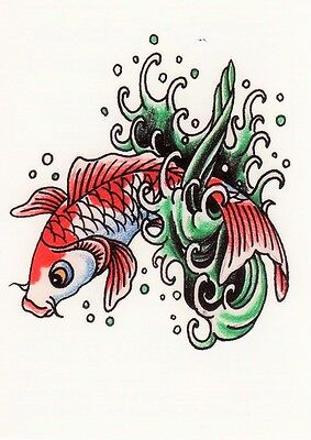 Temporary Tattoo, Ed Hardy, Fisch in Welle