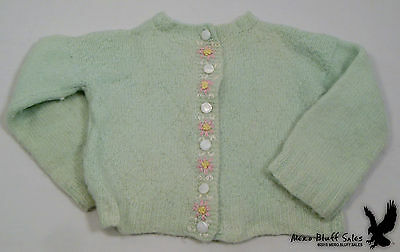 Vintage Hand Knit Embroidered Child's Sweater Light Green Pink Flowers SWEET!