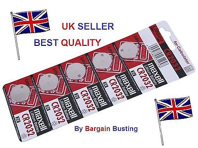 Maxell 5 X Genuine CR2032 3V Lithium Button/Coin Cells batteries UK Seller