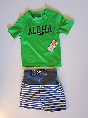 9e1b73569c Carters Toddler Boys Rash Guard Set 2 Pc Green Aloha Swim Shorts Trunks 2T