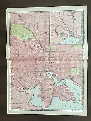 "Large 20 3/4"" X 14 3/4"" COLOR Rand McNally Map of Baltimore, MD -1905"