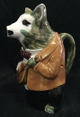 Vintage Fox With Mandolin Water Pitcher, Hand Painted