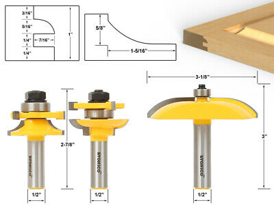 "Round Over 3 Bit Cabinet Door Router Bit Set - 1/2"" Shank - Yonico 12339"