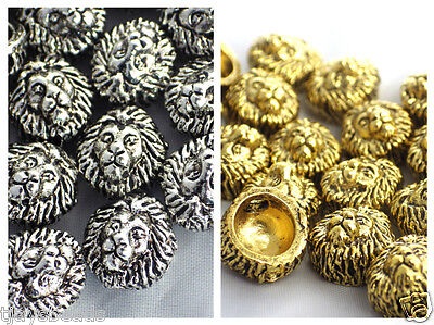 20 x Lion Head Silver Gold Metal Beads for Jewellery Making