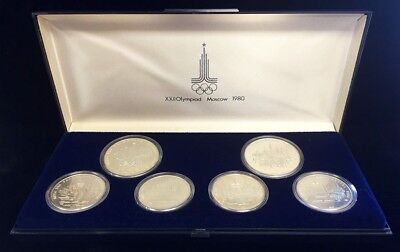 1980 Silver Russia Moscow Olympics 5 & 10 Roubles Mint State Coins Box Gem Set